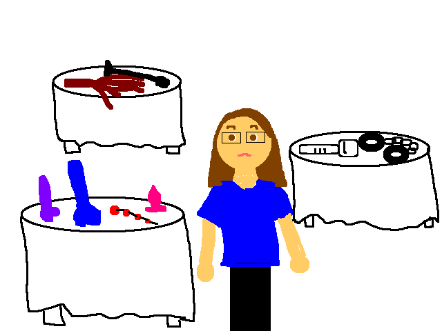 Paint drawing of me looking at toys