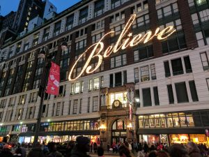 Macy's windows with Believe in lights