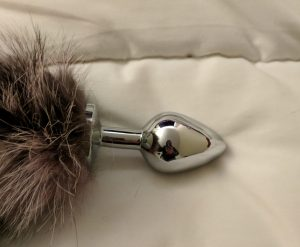 Stainless steel plug end of tail resting on bed