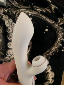 Another shot of the g-spot rabbit from the side to show the distance between shaft and clitoral suction arm