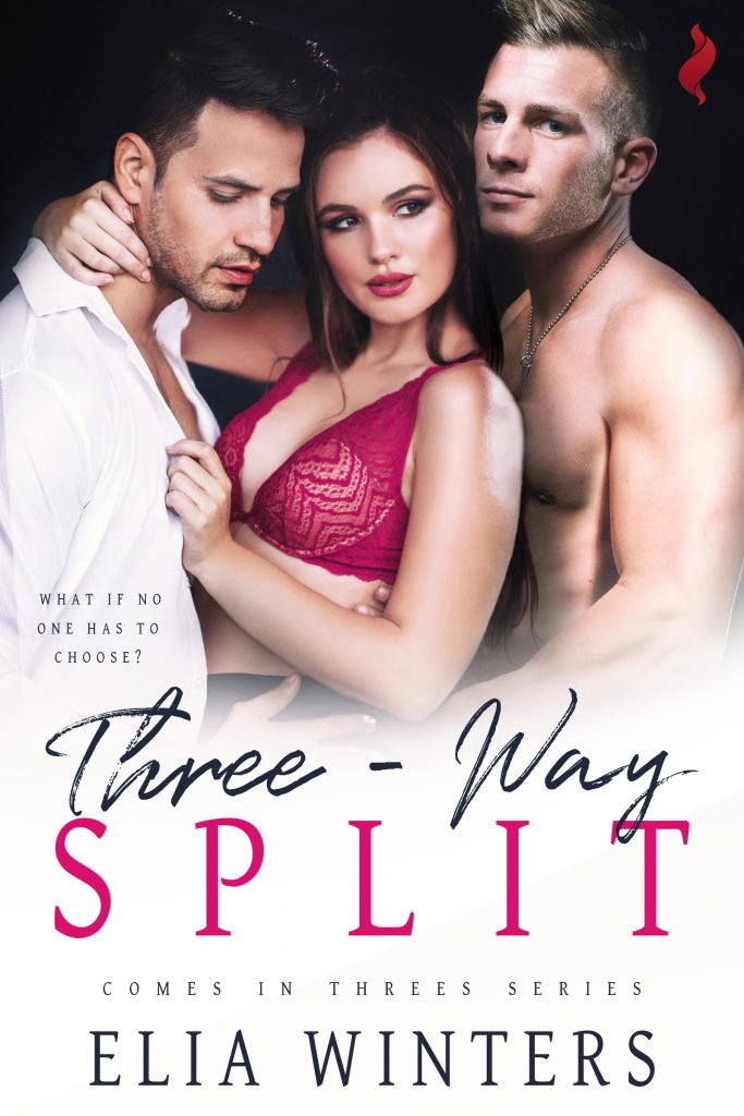 Cover for Three-Way Split, with a lovely sexy woman surrounded by two sexy men, everyone clearly about to get into sexytimes together