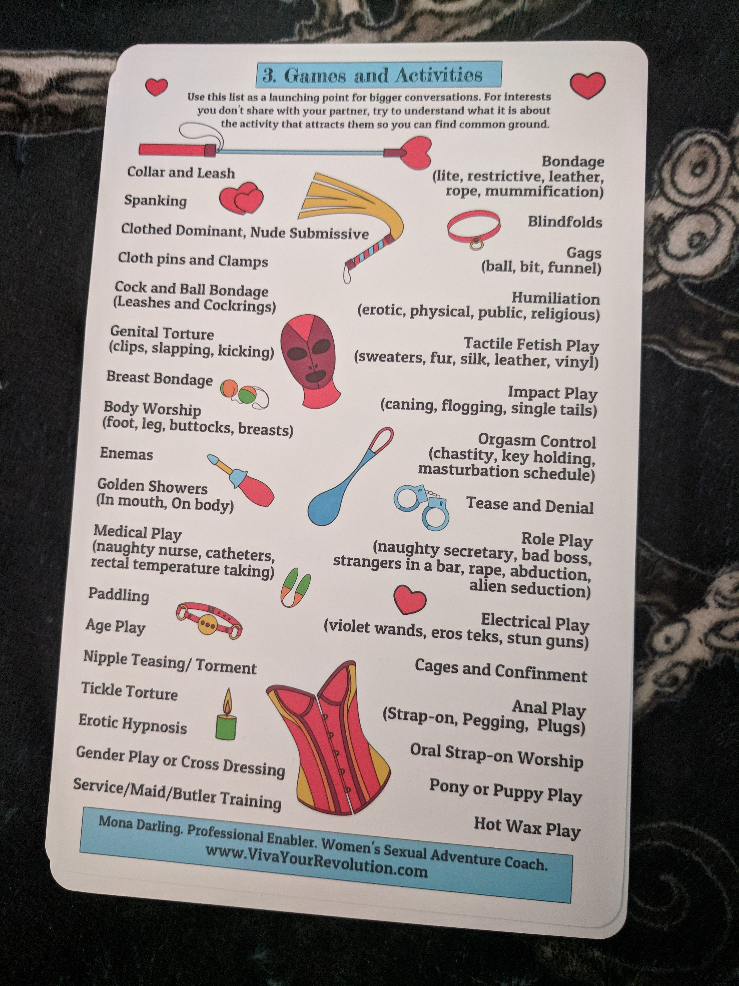 The back of the cards has more info to fill out to figure out your needs better