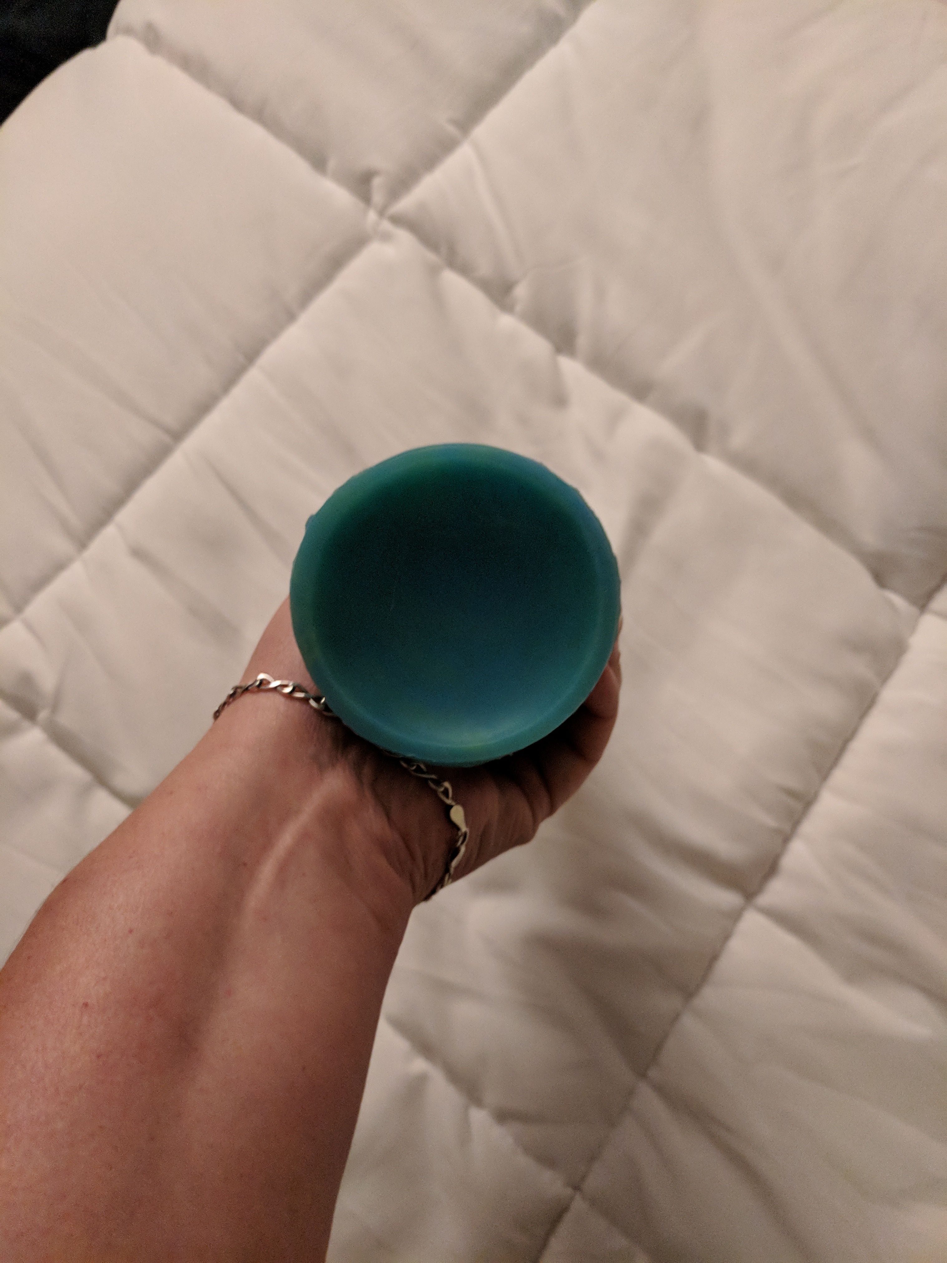 Bottom of toy, showing width and suction cup base