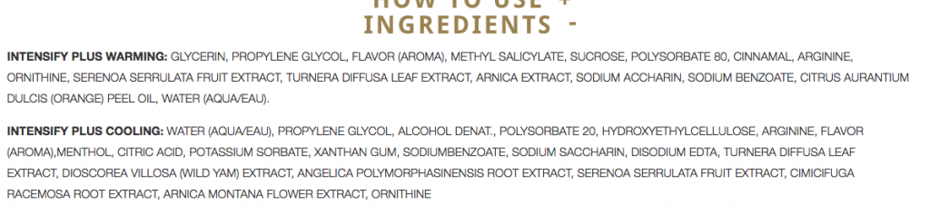 Ingredients list of the products, including glycerin, propylene glycol, and sucrose.