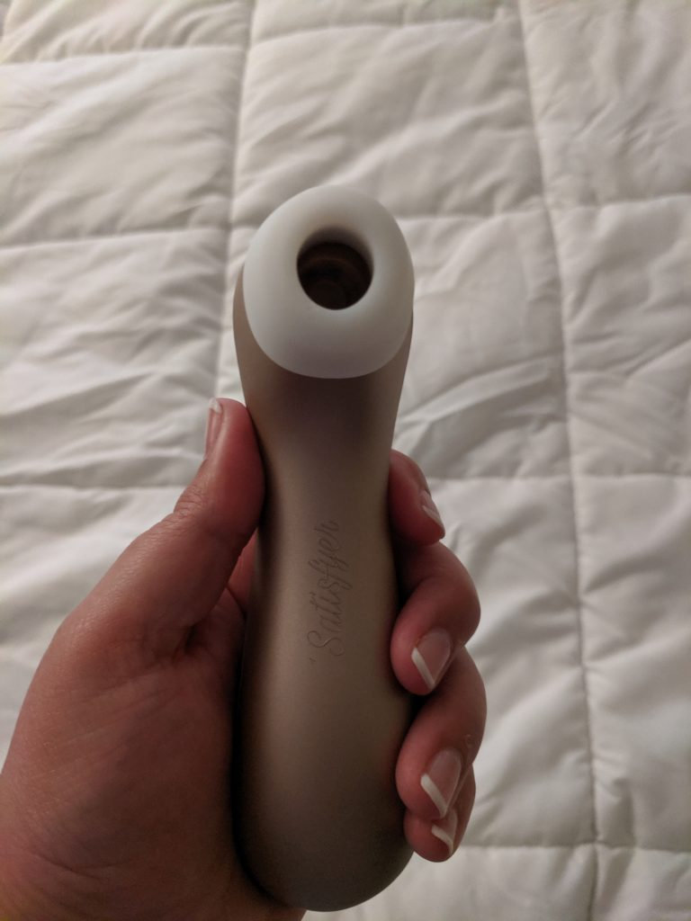 Satisfyer pro 2 in hand, underside