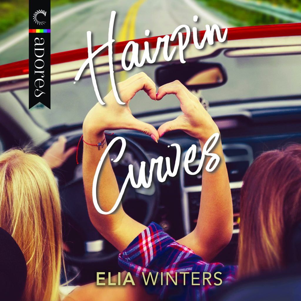 Hairpin Curves book cover, with two women sitting in the car making a heart with their hands. It's really cute, trust me.