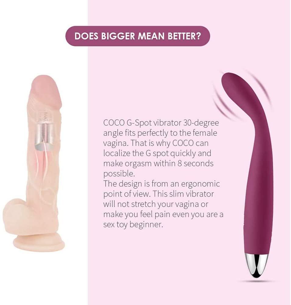 "Ad from Coco. Says ""COCO G-spot vibrator 30-degree angle fits perfectly to the female vagina. That is why COCO can localize the G spot quickly and make orgasm within 8 seconds possible. The design is from an ergonomic point of view. This slim vibrator will not stretch your vagina or make you feel pain even if you are a sex toy beginner."""