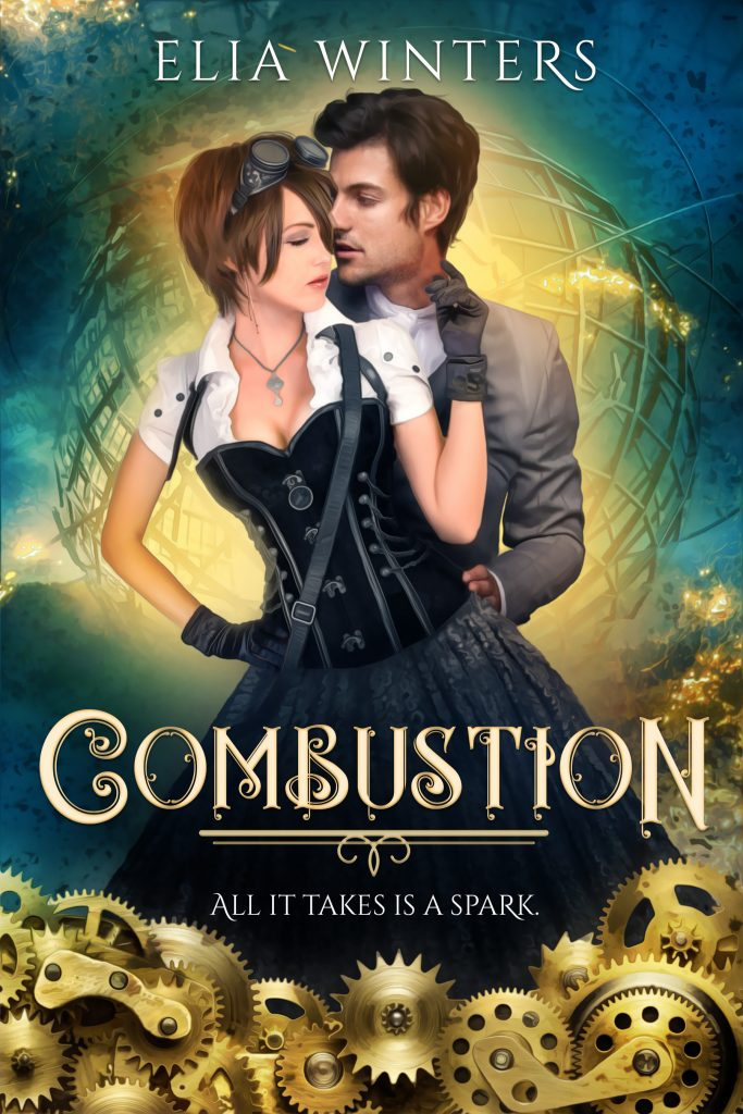 """A man and woman in a clinch, wearing victorian-era clothing, over a backdrop of a spinning stylized metal globe and the book title """"Combustion"""" with gears"""