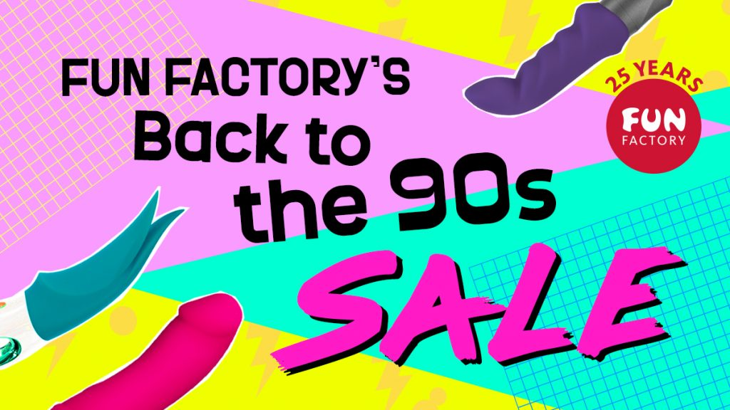 """Image in 90s colors/fonts that says """"Fun Factory's Back to the 90s sale"""""""